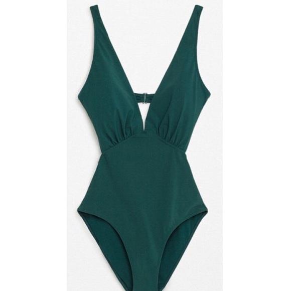 fdfb0a766e5 Zara Swim   New Dark Green One Piece Suit Bikini M   Poshmark
